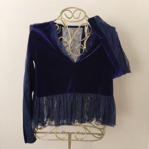 Free People Velvet & Lace Top